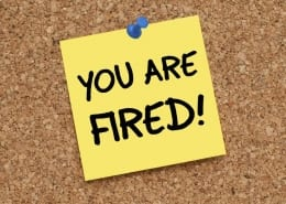 Post It note saying You Are Fired