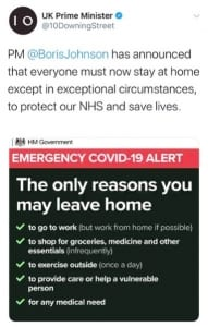 Image of Government tweet about Stay at Home policy